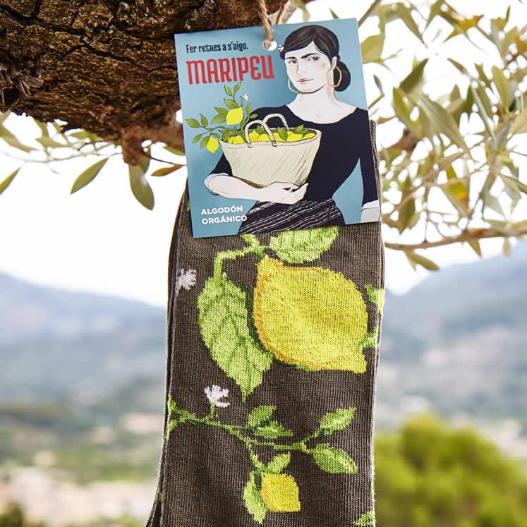 Maripeu Mallorca Baumwollsocken Zitronenmotiv