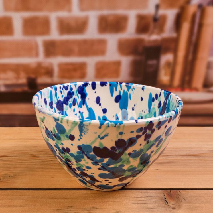 Blue ceramic bowl from Mallorca 17cm
