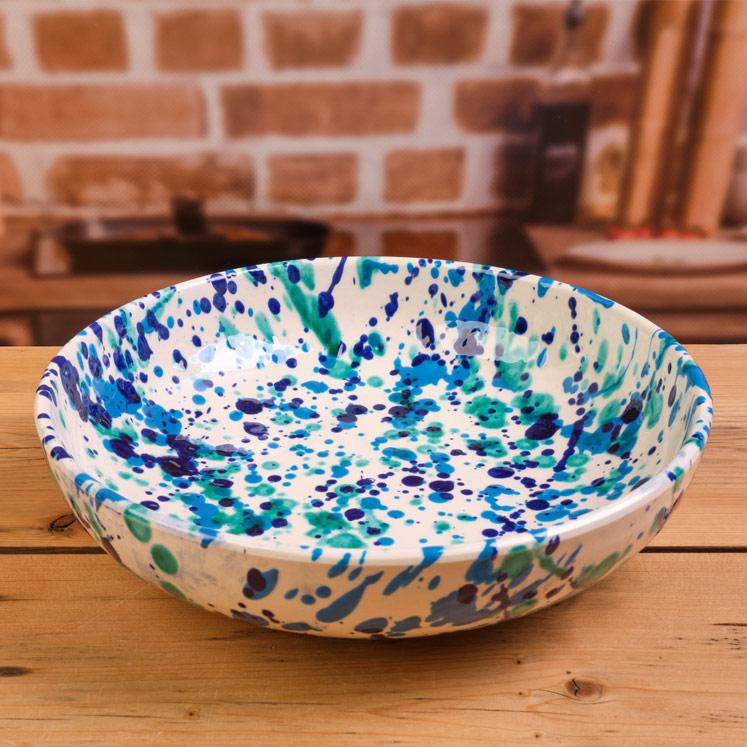 Blue ceramic bowl from Mallorca 27cm