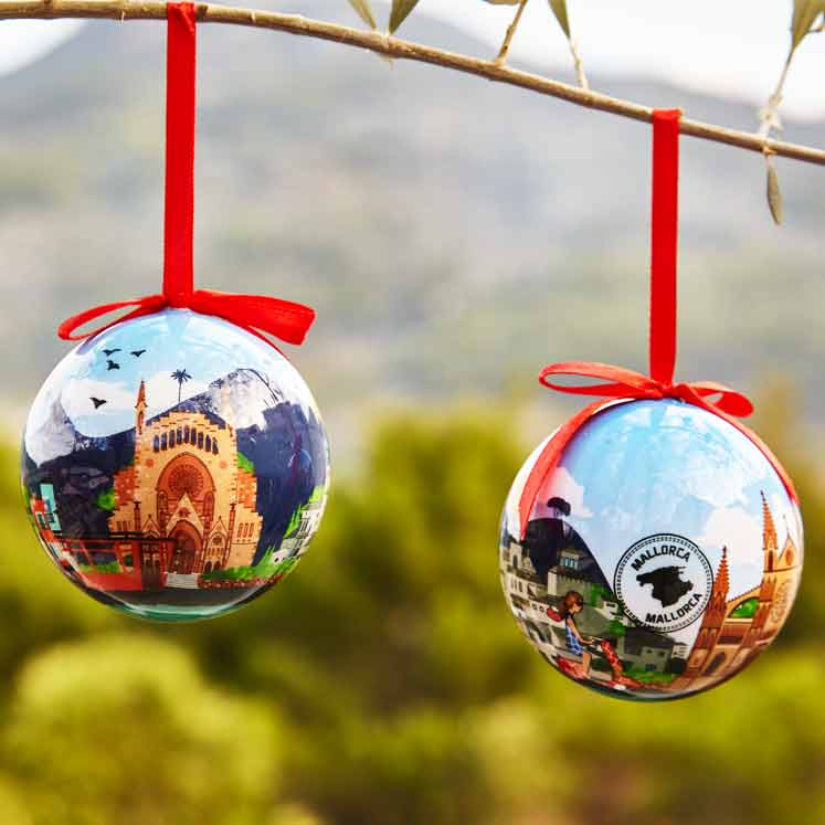 Christmas ball ornaments with Sóller motifs
