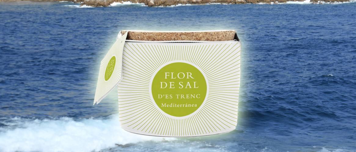 Flor de Sal ecológica mediterránea envase de cerámica con cuchara 100g