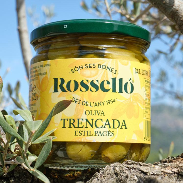 Rosselló Trencada grüne Oliven würzig eingelegt 220g