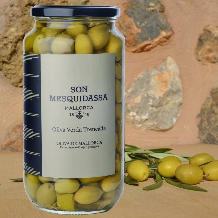 Son Mesquidassa green olives Trencades from Mallorca D.O.P. 550G