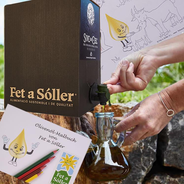 Suc de Cel Bio Olivenöl mit Kinder-Malbuch