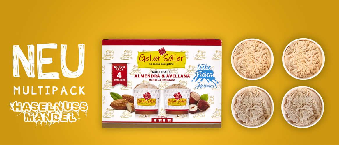 MultiPack Eiscreme Mandel Nuss 4 x 80ml Gelats Sóller