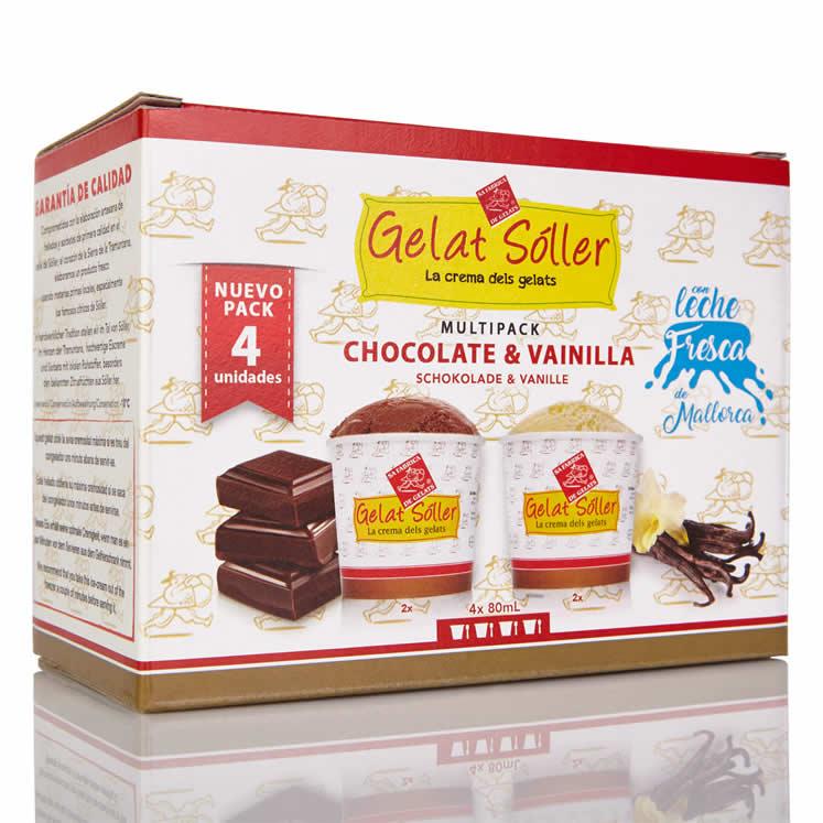 MultiPack Eiscreme Schoko Vanille 4 x 80ml Gelats Sóller