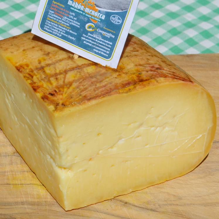 Queso Mahón, cheese made from raw cow and sheep's milk, semi-ripened