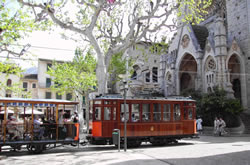 The historical tram connects the city of Sóller with the harbour